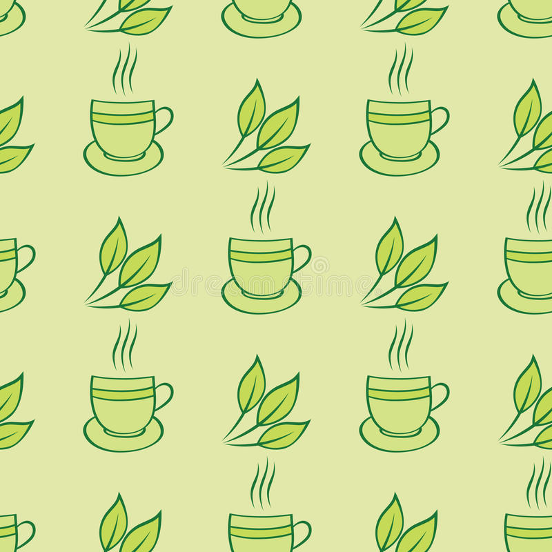 Tea Cups And Leaves Seamless Pattern Stock Photo