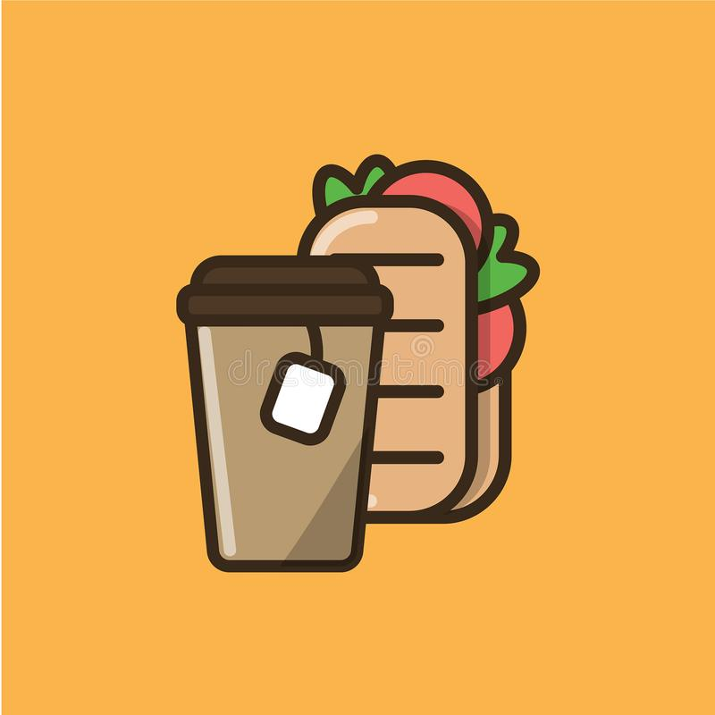Tea drink and ciabatta sandwich vector illustration