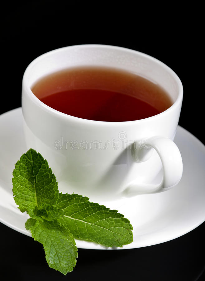 Tea drink with mint. Herb in white cup stock photos
