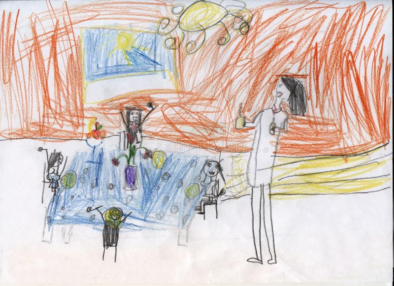 Tea drinking in a large family. Children`s drawings stock photo