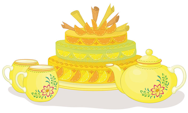 Download Tea drinking with pie stock vector. Image of cake, dinner - 20700302