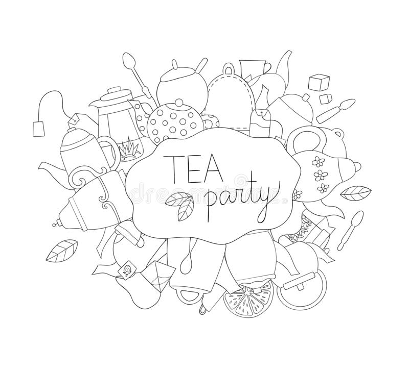 Tea elements black and white vector background stock illustration