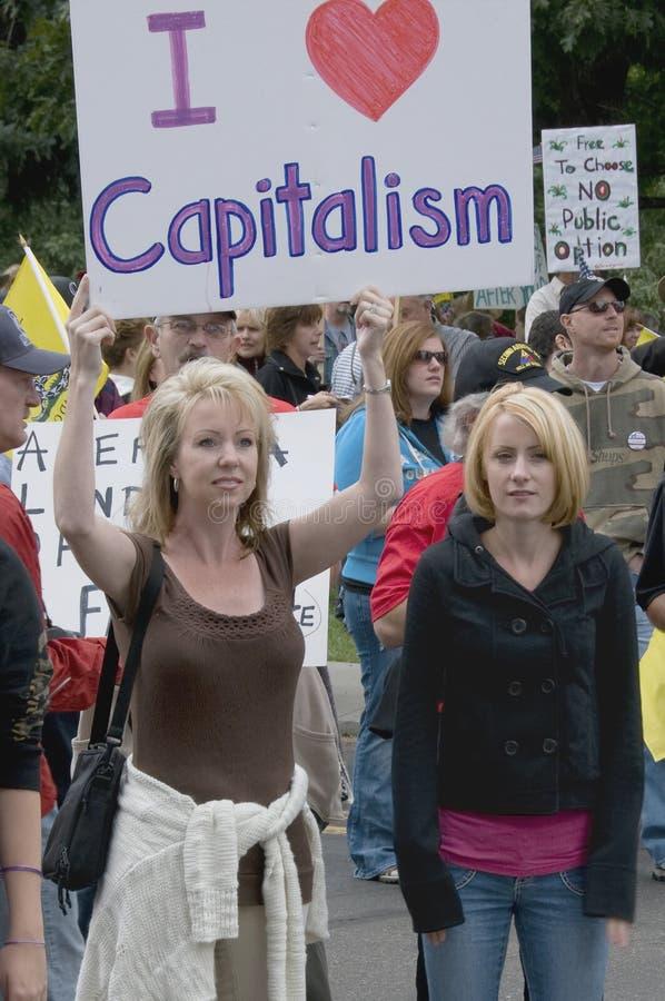 tea för patrioter för deltagare för kapitalismdenver förälskelse arkivbilder