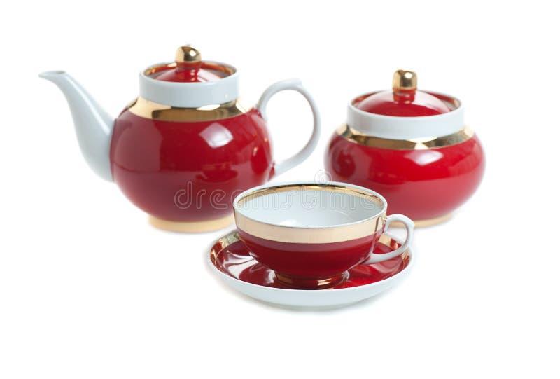 tea f?r red f?r dishware 3d set arkivbilder