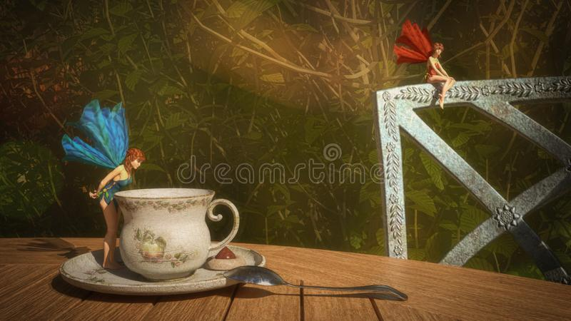 Tea with fairies 3D illustration. 3d illustration of two small fairies and a cup of tea