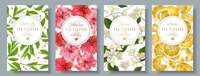 Tea flavour banners set stock illustration
