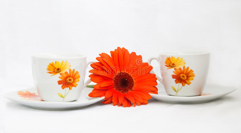 Tea with flowers royalty free stock photos