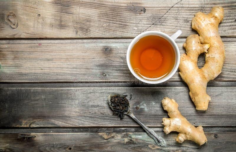 Tea with fresh ginger stock photos