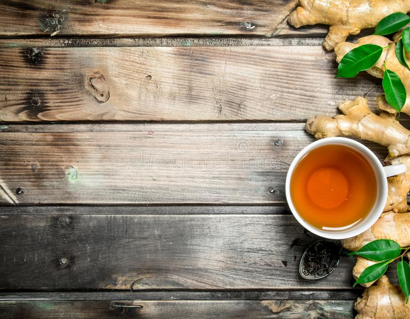 Tea with fresh ginger stock images