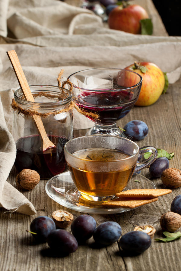 Tea and fruits royalty free stock image
