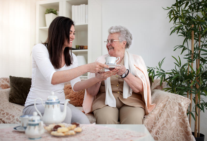 Tea for grandma royalty free stock photography