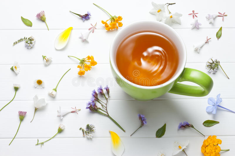 Tea Herbal Green Cup Flowers royalty free stock photo