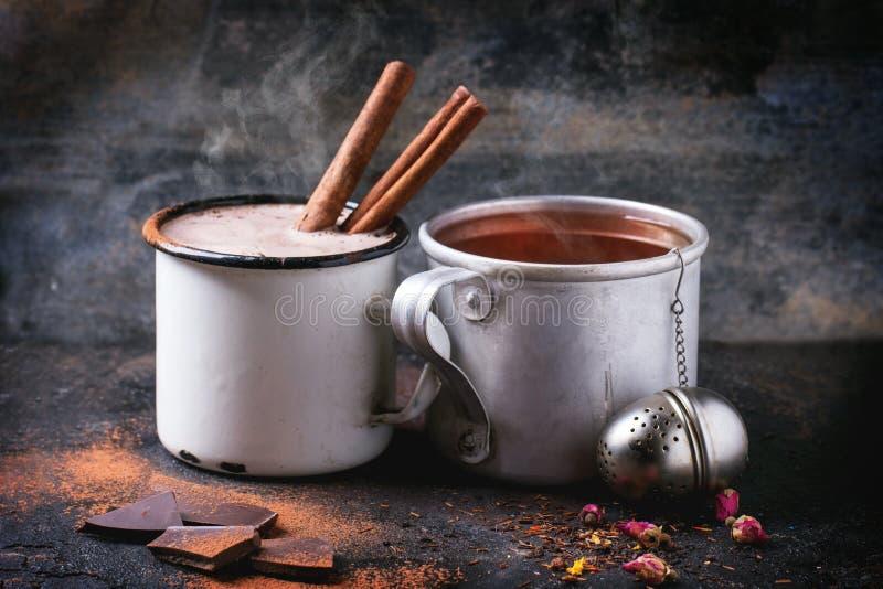 Tea and hot chocolate stock photography