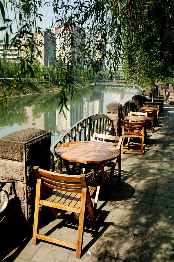 Tea house. By the river in Sichuan,west of China stock photo