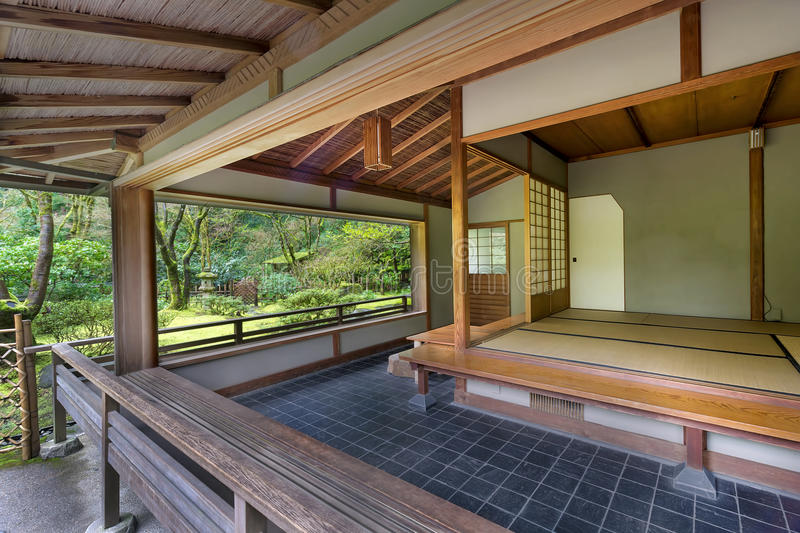 Tea House at Japanese Garden in Spring. Kashintei Tea House at Japanese Garden in Spring Season royalty free stock image
