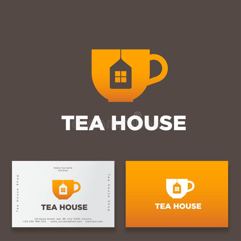 Tea house logo. Cup with tea tag like house icon. Premium product. Logo for cafe or tea shop. stock illustration