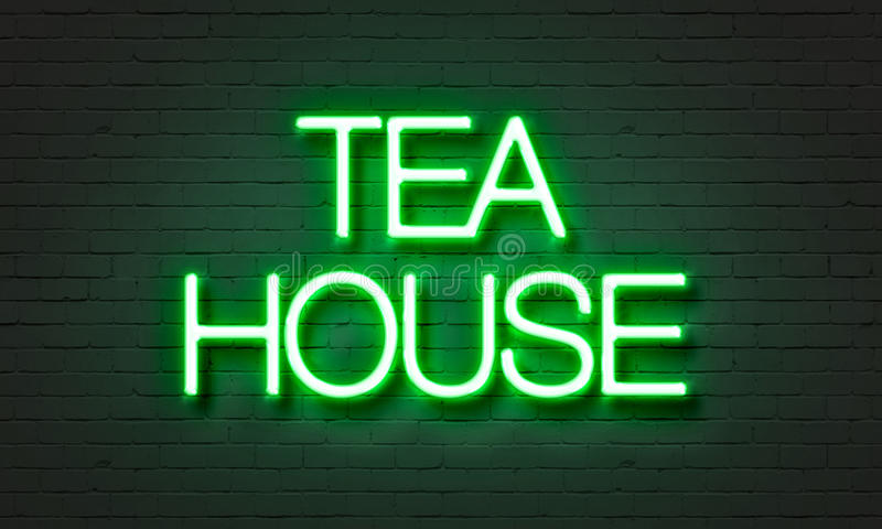 Tea house neon sign on brick wall background. Tea house neon sign on brick wall background royalty free stock photos