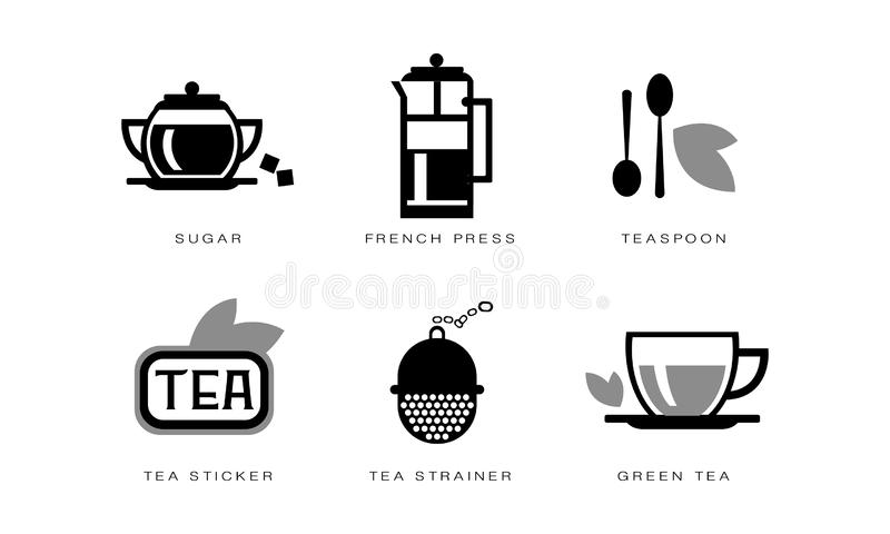 Tea icons set, sugar, french press, teaspoon, strainer, tea sticker vector Illustration on a white background stock illustration