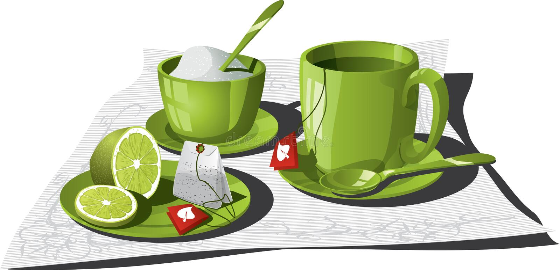 Tea Infusion. Vector illustration of a personal tea set. Teabag, sliced lemon, sugar, mug, napkin and teaspoon. AI8 vector file included vector illustration