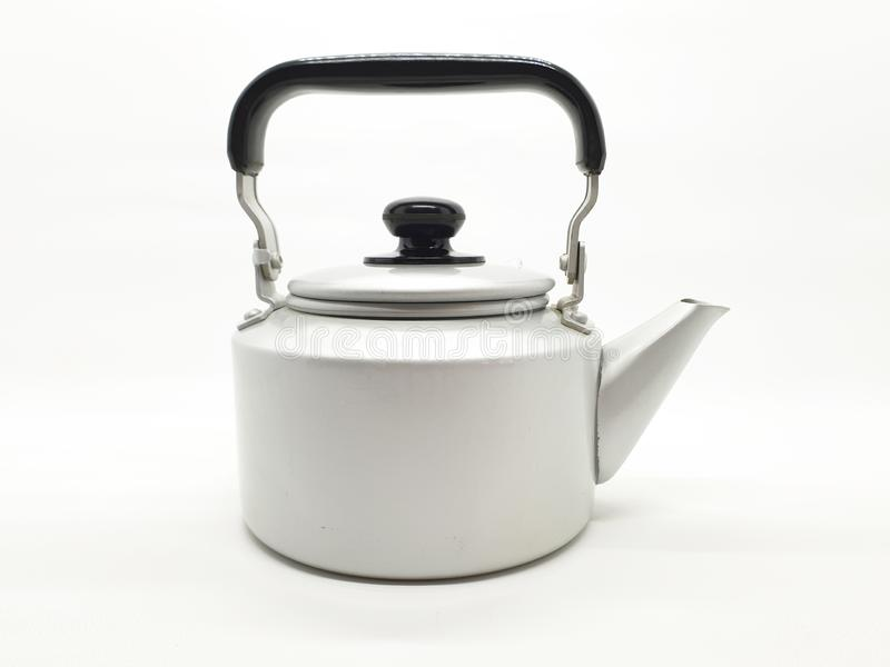 Tea kettle  is a type of pot specialized for boiling water with a lid, spout, and handle, or a small kitchen appliance 04. Tea kettle or teakettle is a type of royalty free stock photography