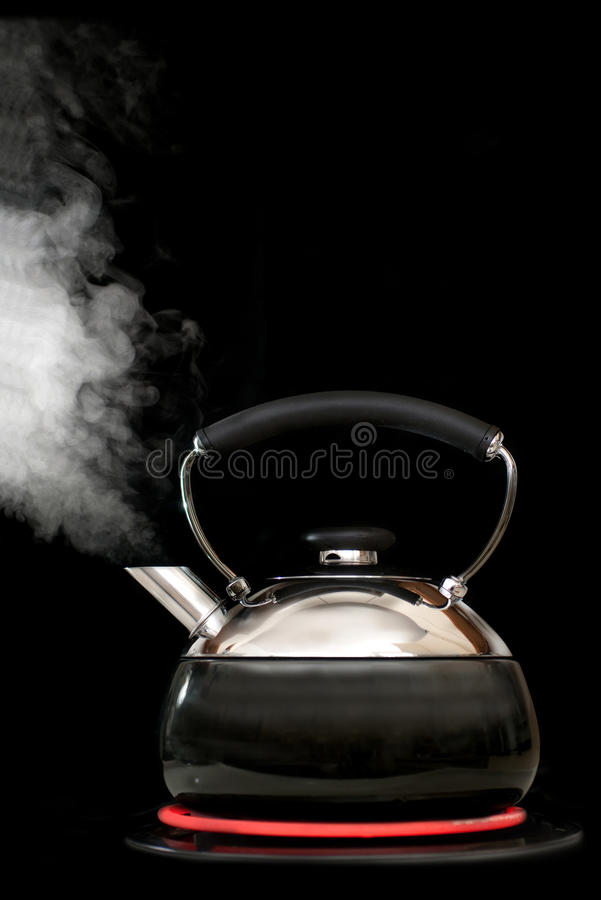 Free Tea Kettle With Boiling Water On Black Background Stock Photo - 11321970