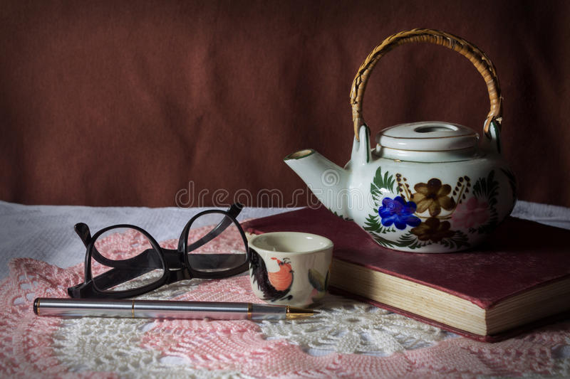 Download Tea kit with stationary. stock photo. Image of wood, book - 36607164