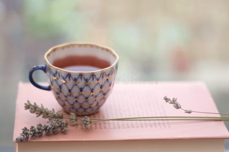 Tea and lavender stock photos