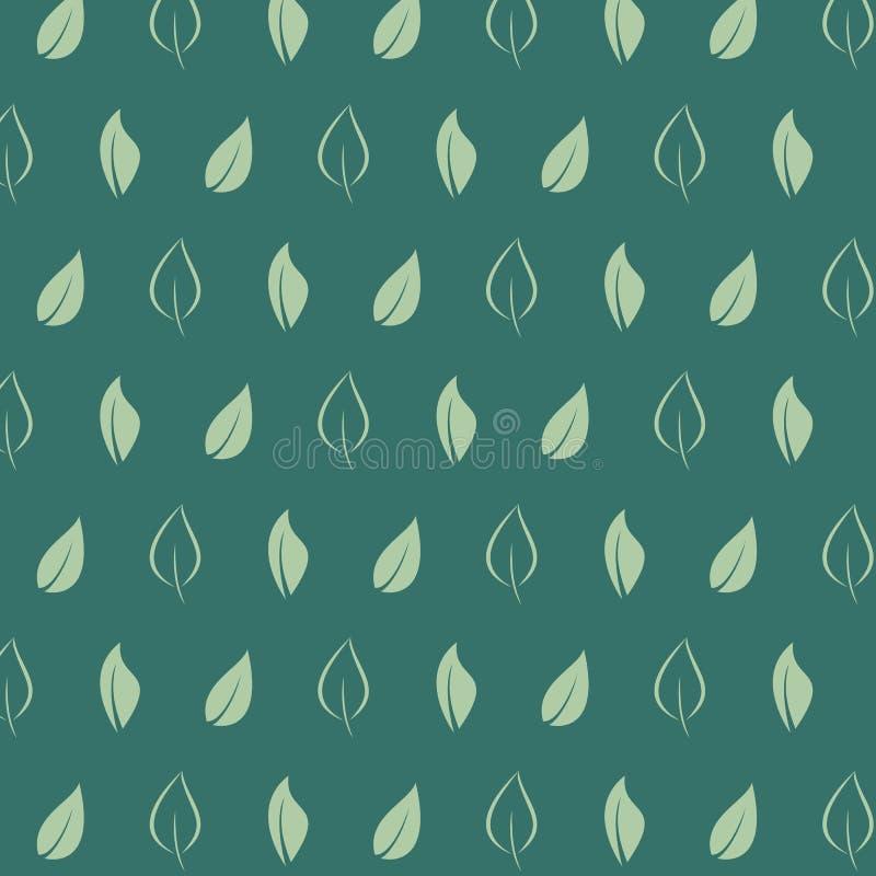 Tea leaf pattern on green background. Leaf concept. Vector vector illustration