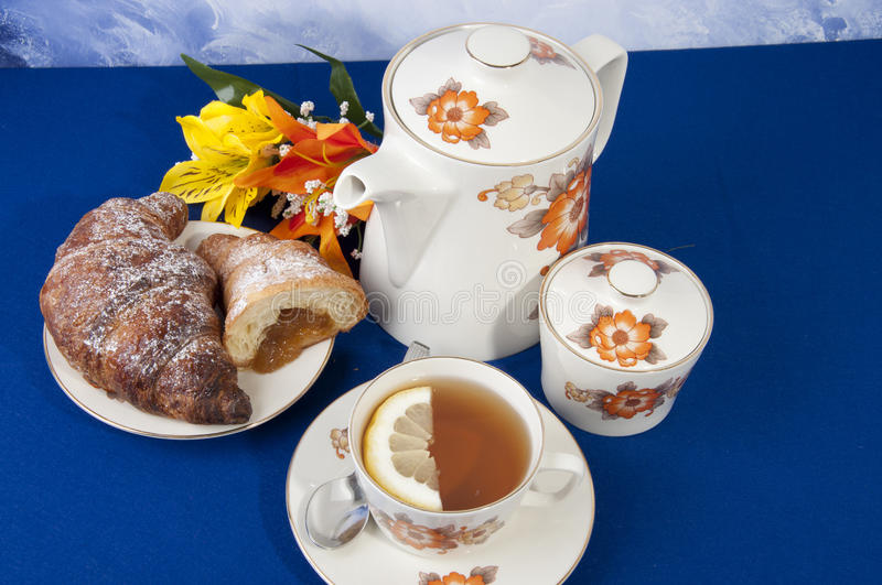 Download Tea with lemon croissant stock photo. Image of chinese - 25306544