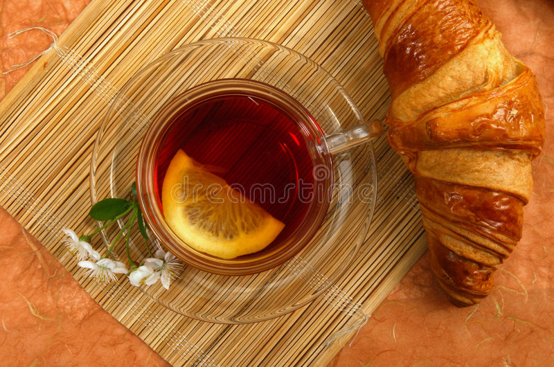 Tea With Lemon And Croissant Royalty Free Stock Photo