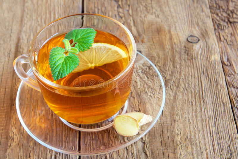 Tea with lemon, ginger and mint stock photography