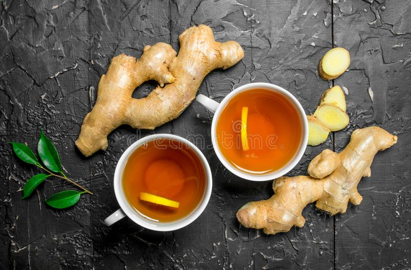 Tea with lemon and ginger stock photos