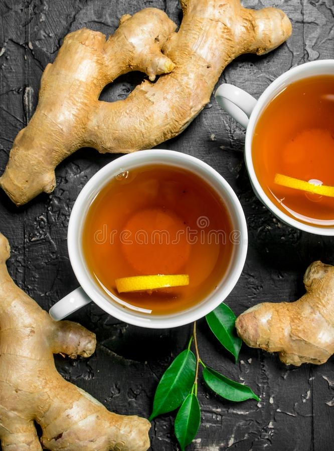 Tea with lemon and ginger royalty free stock images