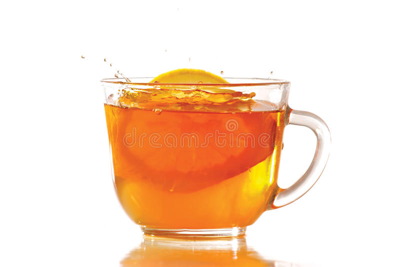 Download Tea And Lemon With Splash Stock Images - Image: 23370014