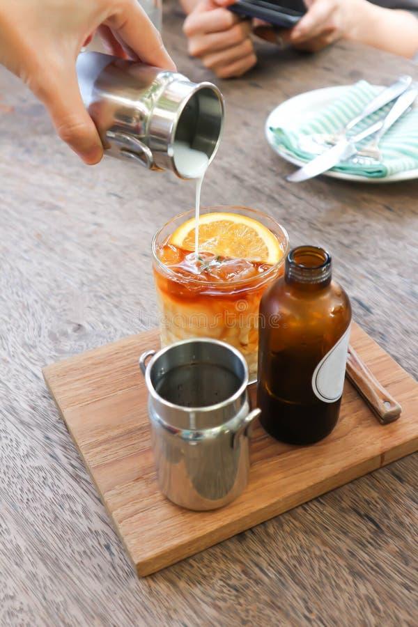 Tea or lemon tea or pour some tea into the glass royalty free stock image