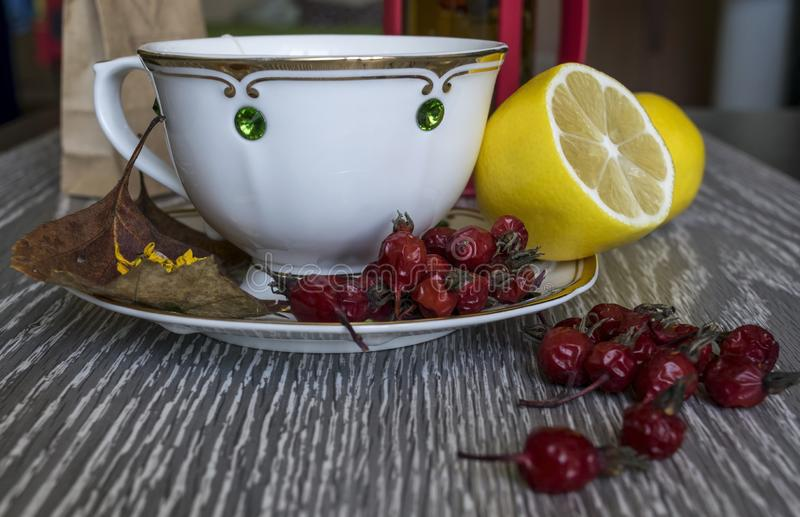 Tea with lemon. Useful products in the fall. stock photo