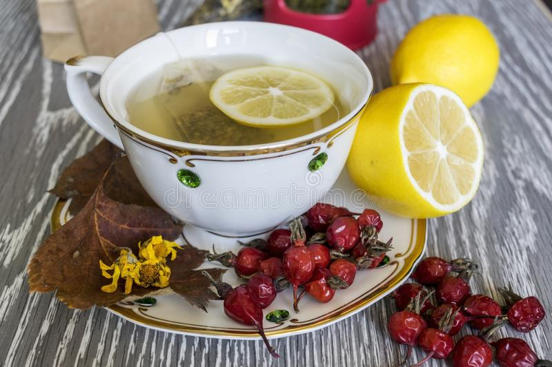 Tea with lemon. Useful products in the fall. stock images