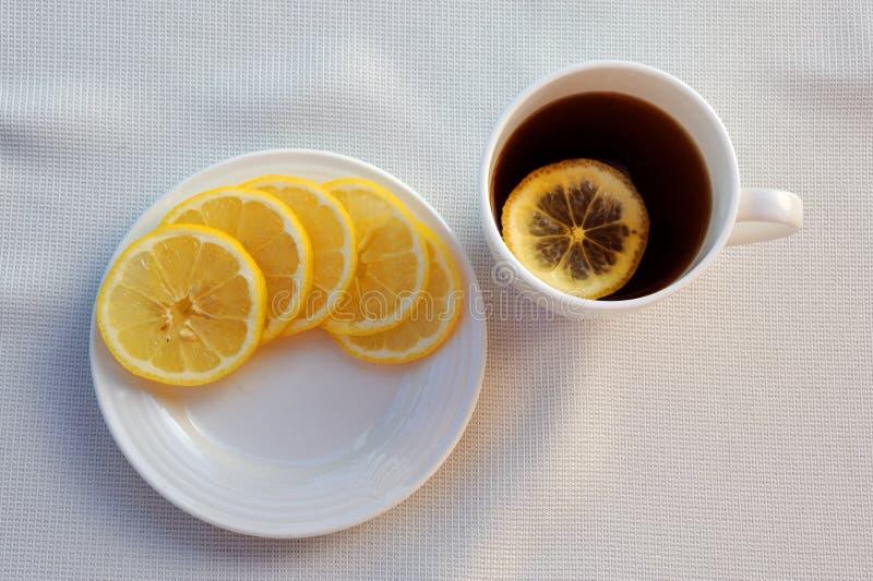 Tea and lemon stock photography