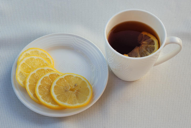 Tea and lemon stock photo