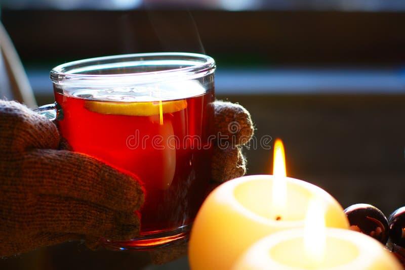 Tea With Lemon In Winter stock photos
