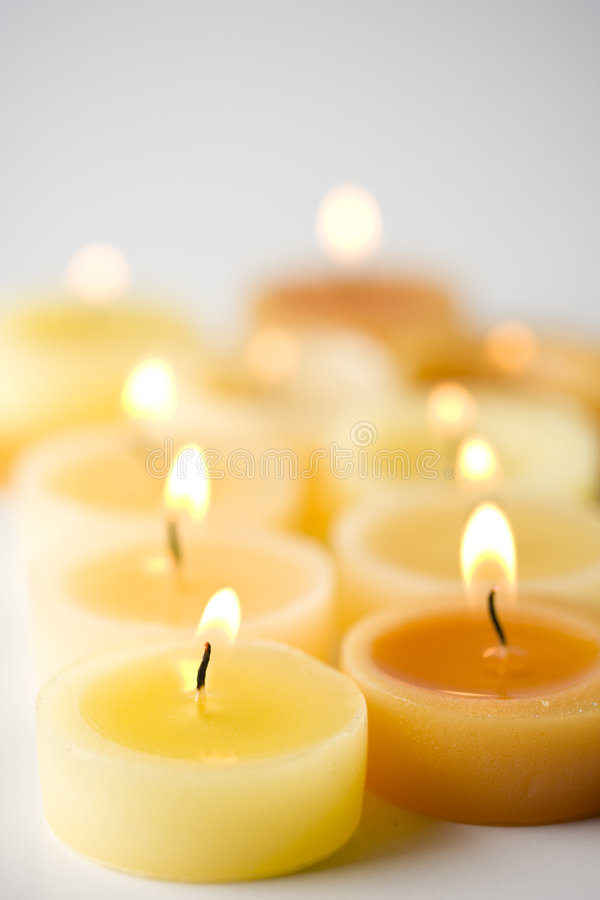 Tea lights. With a moody not too bright backgrund royalty free stock photo