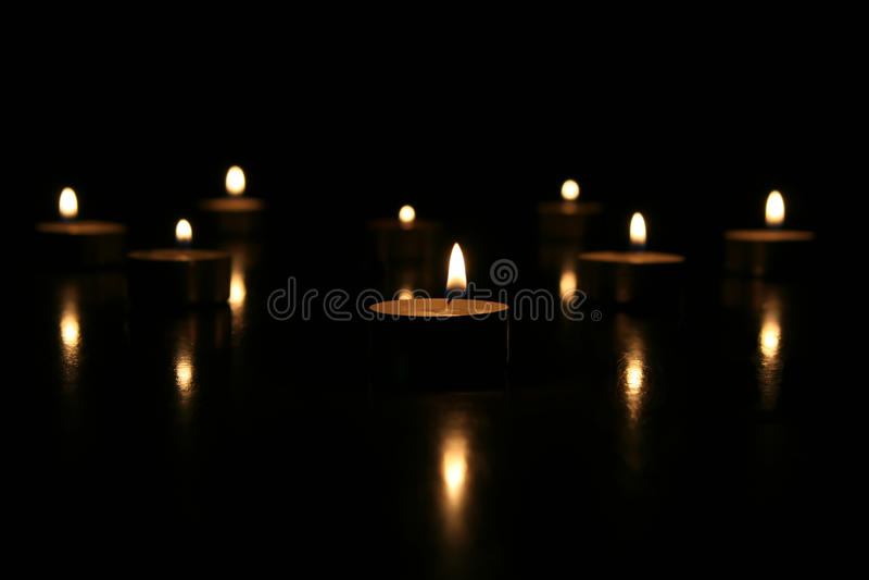 Download Tea Lights On Black Background Stock Photo - Image: 15102592