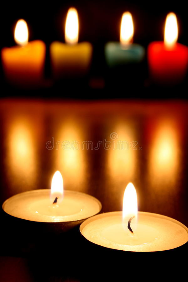 Tea lights & candles royalty free stock photo