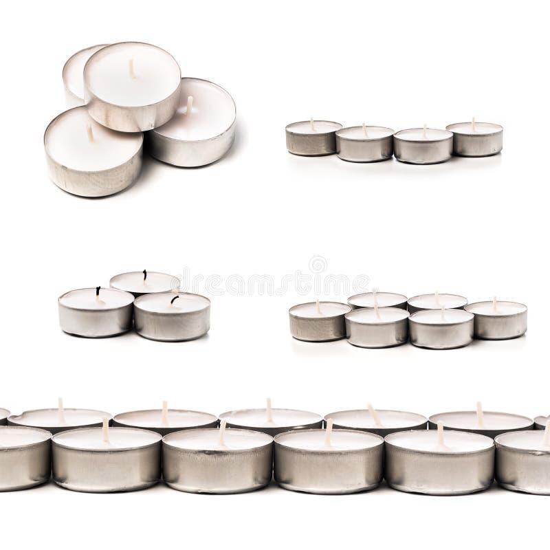 Tea lights isolated on white.  stock image