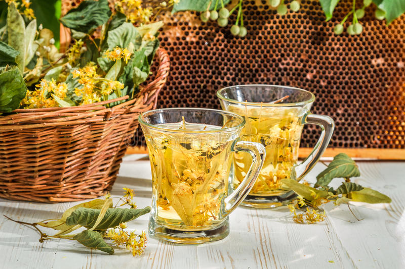Tea with lime and honey served in the garden at summer stock photo
