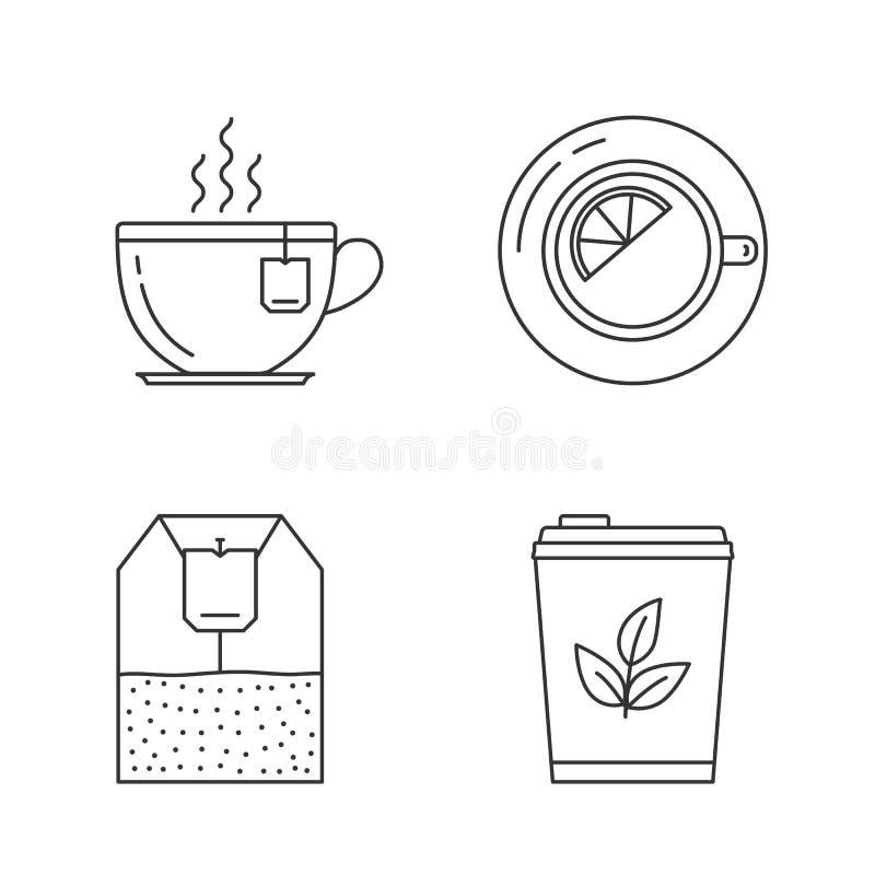 Tea Line Icons. On white background - tea cups, tea bag and tea with lemon royalty free illustration
