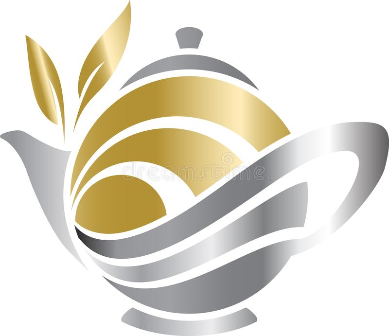 Tea logo icon. Illustration with teapot, cup and tea leaves vector illustration