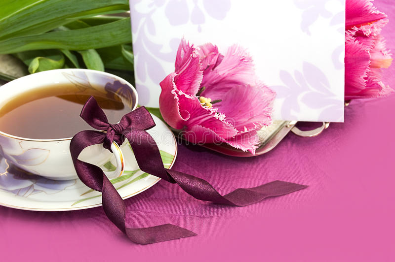 Download Tea And Magenta Tulips With Blank Note Royalty Free Stock Photos - Image: 18796178