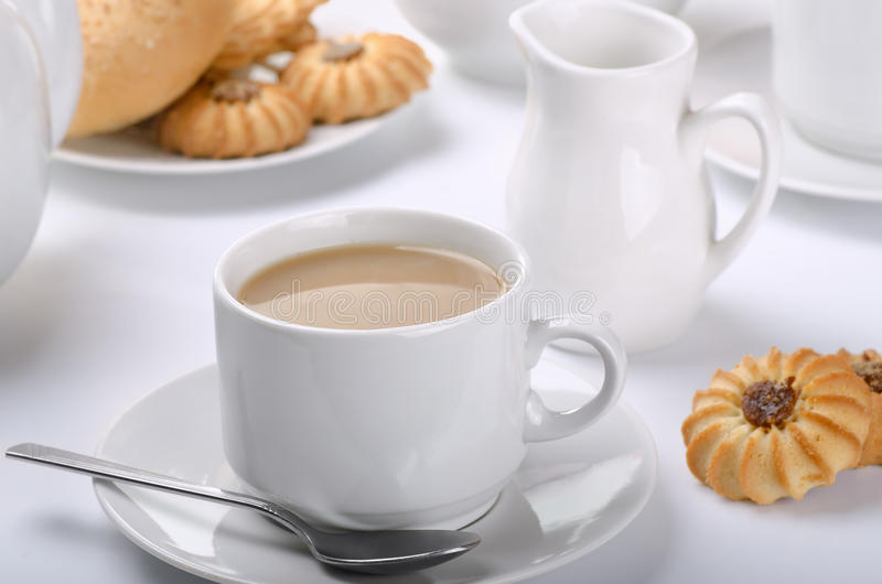 Tea with milk royalty free stock images