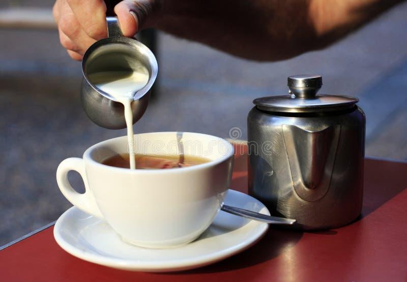 Tea with milk stock image